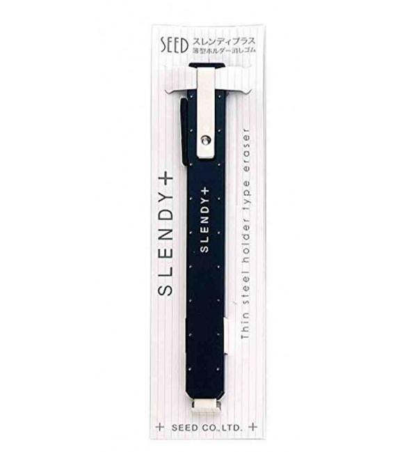 Seed Slendy Plus Eraser Black-Soporte de metal con goma de borrar lápiz y tinta (importado de Japón
